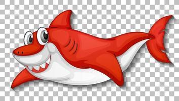 le söt hajtecknad karaktär isolerad på transparent bakgrund vektor