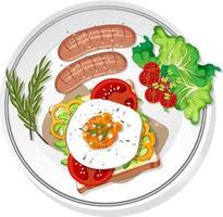 Frühstücksset auf dem Teller isoliert vektor