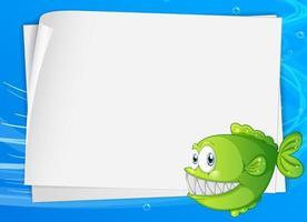 tomt pappersbanner med exotisk fisk och på undervattensbakgrunden vektor