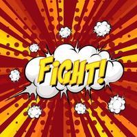 Kampf Formulierung Comic-Sprechblase auf platzen vektor