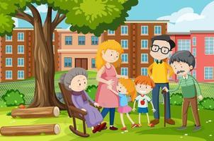 Familienmitglied in der Park-Outdoor-Szene vektor