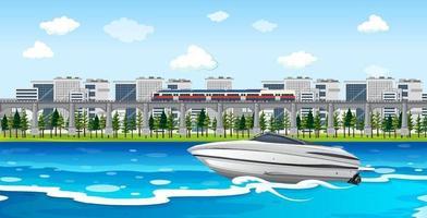 Flussstadtszene mit einem Schnellboot vektor