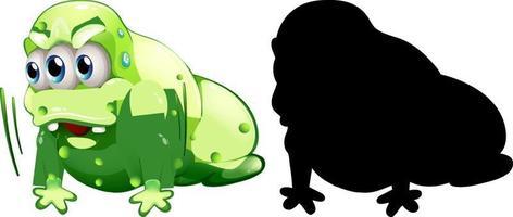 grönt monster med sin silhuett på vit bakgrund vektor