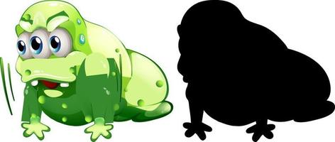 grünes Monster mit seiner Silhouette auf weißem Hintergrund vektor