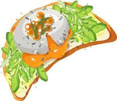 ovanifrån av brödfrukost med toppning vektor