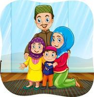 niedliche muslimische Familie Zeichentrickfigur vektor