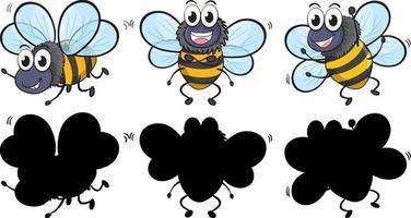 süße Biene in drei Positionen mit seiner Silhouette auf weißem Hintergrund vektor
