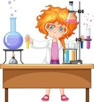 flicka med experimentföremål vektor