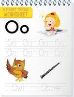 alfabetet spåra kalkylblad med bokstaven o och o vektor