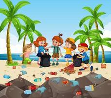 en grupp frivilliga barn som städar stranden vektor