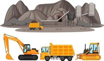 kolbrytningsscen med olika typer av byggbilar vektor