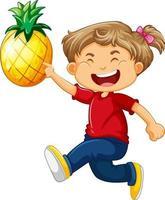ein niedliches Mädchen, das Ananas-Karikaturfigur lokalisiert auf weißem Hintergrund hält
