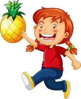 ein niedliches Mädchen, das Ananas-Karikaturfigur lokalisiert auf weißem Hintergrund hält vektor