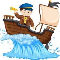Kapitän, der auf dem Schiff auf weißem Hintergrund steht