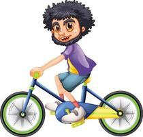ein Junge, der eine Fahrradkarikaturfigur lokalisiert auf weißem Hintergrund reitet vektor