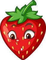 Erdbeer-Zeichentrickfigur mit Gesichtsausdruck vektor