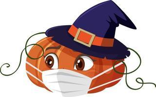 Kürbiskarikaturfigur, die Maske auf weißem Hintergrund trägt vektor