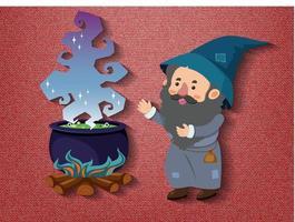 liten trollkarl seriefigur med potion potten vektor