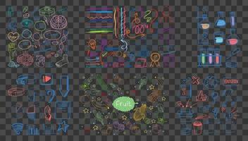 uppsättning färgglada objekt och symbol handritad klotter på transparent bakgrund vektor
