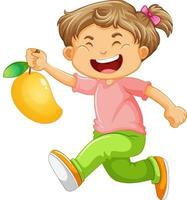 ein Junge, der Mangofruchtkarikaturfigur lokalisiert auf weißem Hintergrund hält
