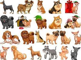 verschiedene lustige Hunde im Karikaturstil lokalisiert auf weißem Hintergrund