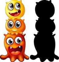 gelbe Monsterfamilie mit seiner Silhouette auf weißem Hintergrund vektor