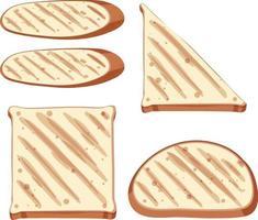 uppsättning hälsosam rostat bröd och bröd vektor