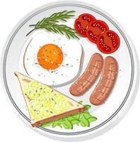 Draufsicht des Frühstücks gesetzt auf einem Gericht isoliert vektor
