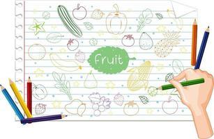 hand som drar många frukter klotter på papper vektor