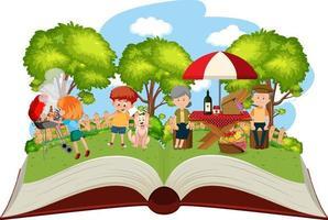 glückliches Familienpicknick im Garten vektor