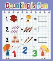 Arbeitsblatt für die Anzahl der mathematischen Zählungen vektor