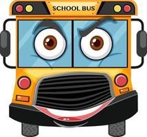 skolbuss seriefigur med ansiktsuttryck på vit bakgrund