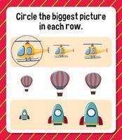 Kreisen Sie das größte Bild in jedem Zeilenarbeitsblatt für Kinder ein vektor