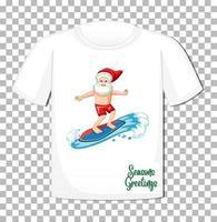 jultomten i sommardräkt seriefigur på t-shirt isolerad på transparent bakgrund vektor