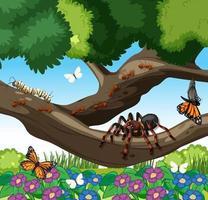 många olika insekter i trädgårdsplatsen vektor
