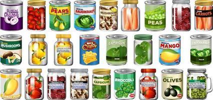 uppsättning olika konserver och mat i burkar isolerade vektor