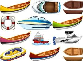 uppsättning av olika slags båtar och fartyg isolerad på vit bakgrund