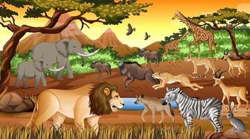 Gruppe von wilden afrikanischen Tieren in der Waldszene vektor