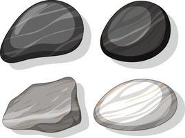 Satz verschiedene Steinformen lokalisiert auf weißem Hintergrund vektor