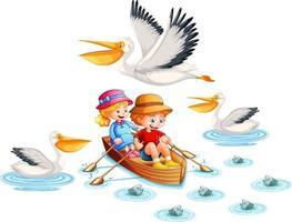 glada barn paddelbåt på vit bakgrund vektor