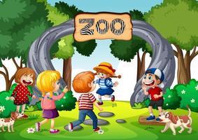 Zoo Eingangstor Szene mit vielen Kindern vektor