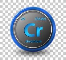 Chrom chemisches Element. chemisches Symbol mit Ordnungszahl und Atommasse. vektor