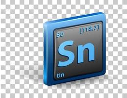 Zinn chemisches Element. chemisches Symbol mit Ordnungszahl und Atommasse. vektor