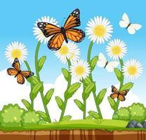 viele Schmetterlinge mit vielen Blumen in der Gartenszene vektor