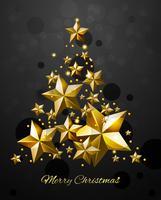 Weihnachtsbaum mit Goldsternen vektor