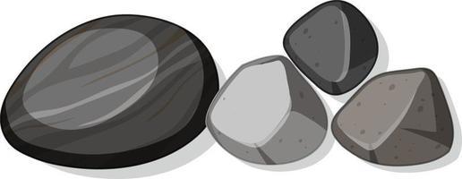 uppsättning av olika svarta stenar isolerad på vit bakgrund vektor