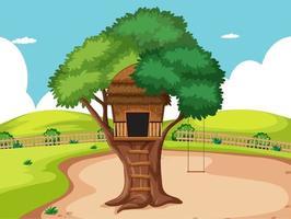 trädhus i parkplatsen vektor