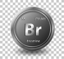 brom kemiskt element. kemisk symbol med atomnummer och atommassa. vektor