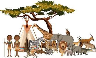 afrikanischer Stamm mit Gruppe des wilden afrikanischen Tieres auf weißem Hintergrund