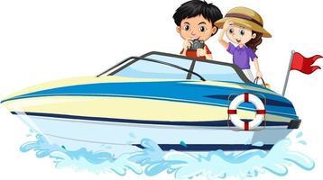 barn på en snabbbåt på vit bakgrund vektor